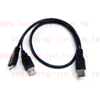 USB3.0 Y CABLE  3.0 A Male/2.0 A Male+Mini 4P