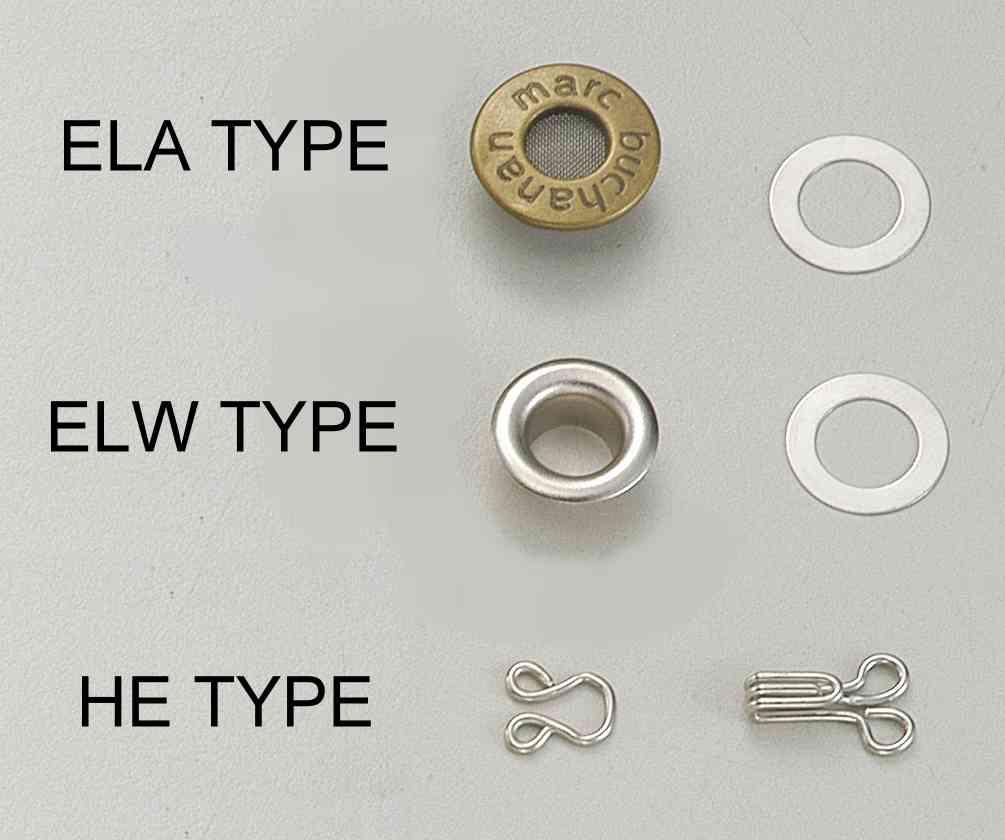 雞眼釘及領鉤 各式雞眼釘,領鉤,多種尺寸 主要產品: eyelet,prong sn... 雞眼
